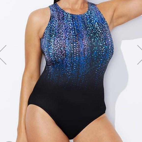 dd47da7aa804d NWT Aquabelle Gemfall High Neck Swimsuit Size 16